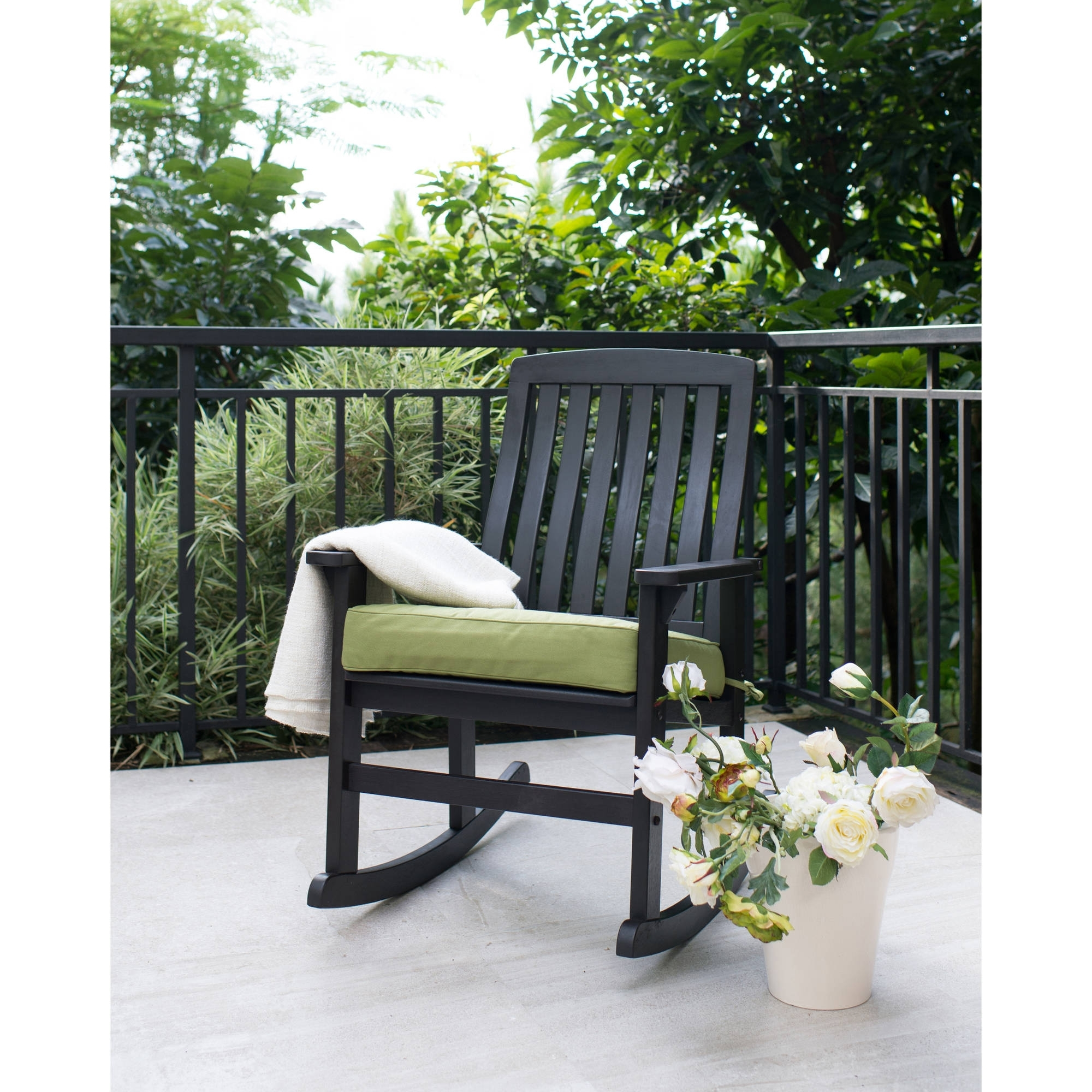 Most Popular Better Homes & Gardens Delahey Wood Porch Rocking Chair, Black With Rocking Chairs For Outside (View 8 of 15)
