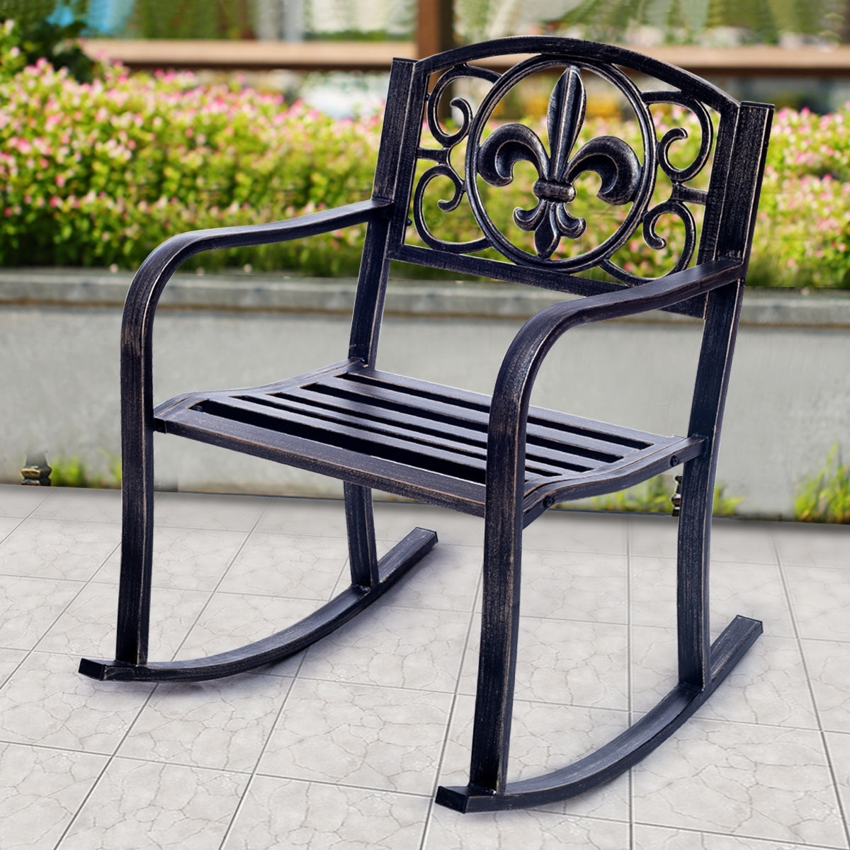 Most Popular Patio Metal Rocking Chairs Within Costway: Costway Patio Metal Rocking Chair Porch Seat Deck Outdoor (View 7 of 15)