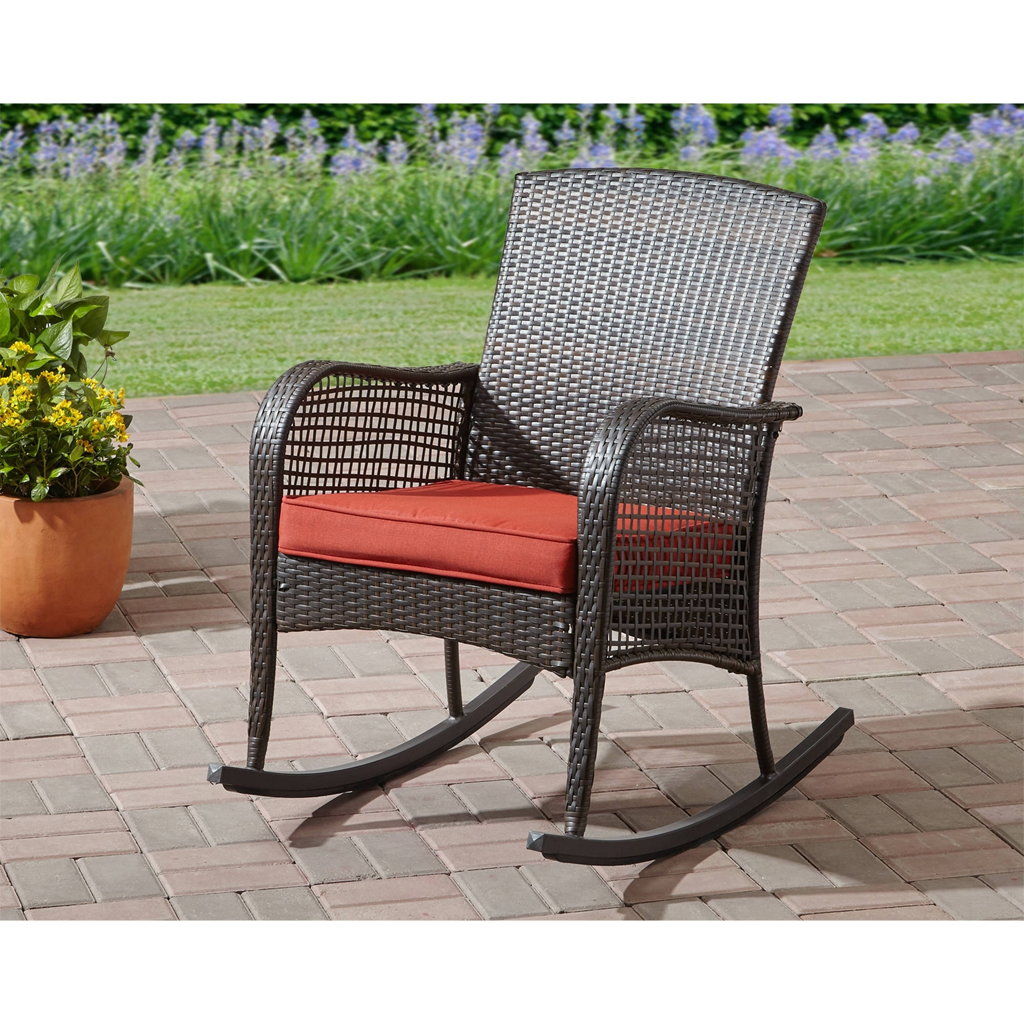 Most Popular Rocking Chair Cushion Seat Wicker Steel Frame Outdoor Patio Deck With Regard To Patio Rocking Chairs With Cushions (View 5 of 15)