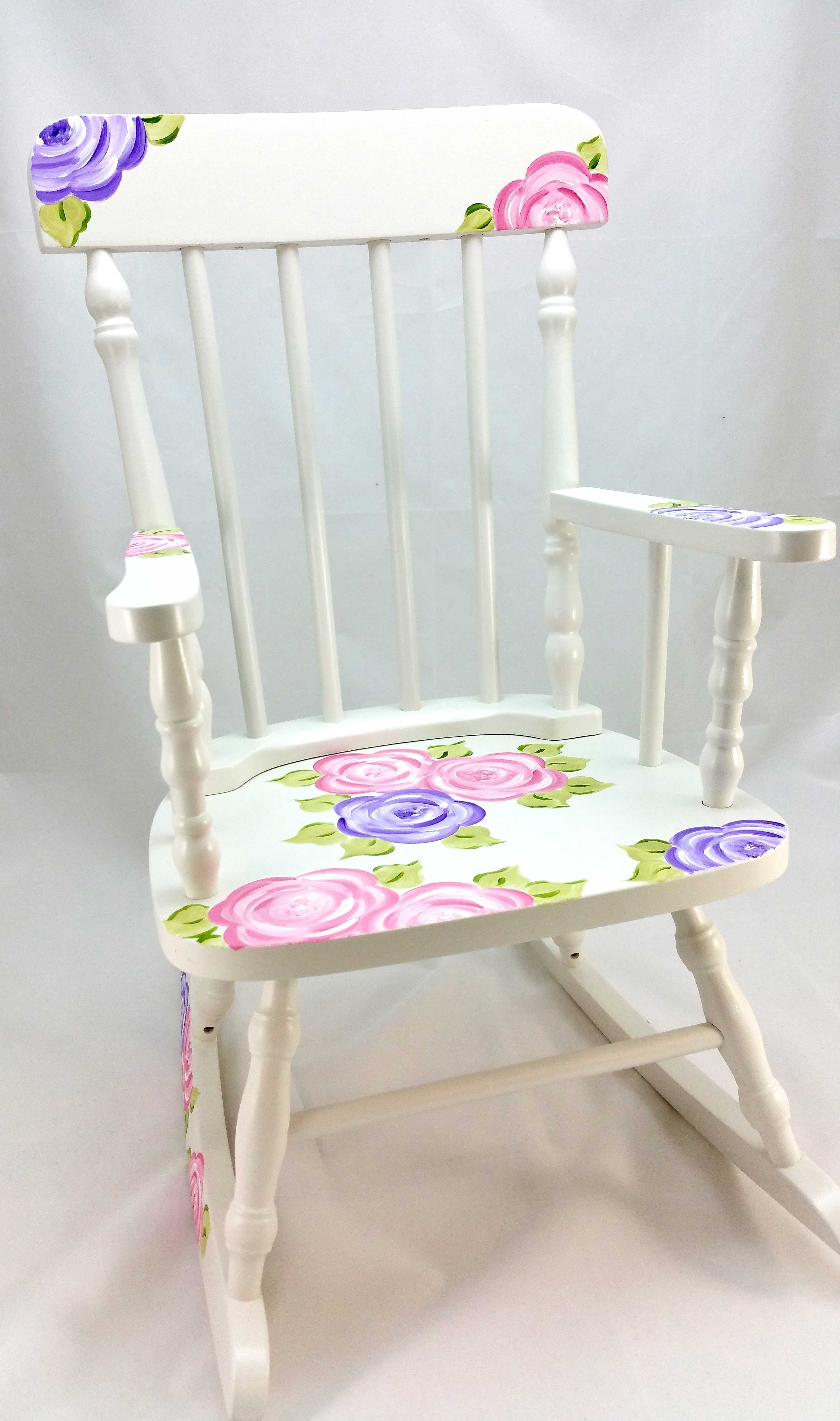 Most Popular Rocking Chairs At Roses Intended For Mod Roses Personalized Rocking Chair – Purple Pumpkin Gifts (View 4 of 15)