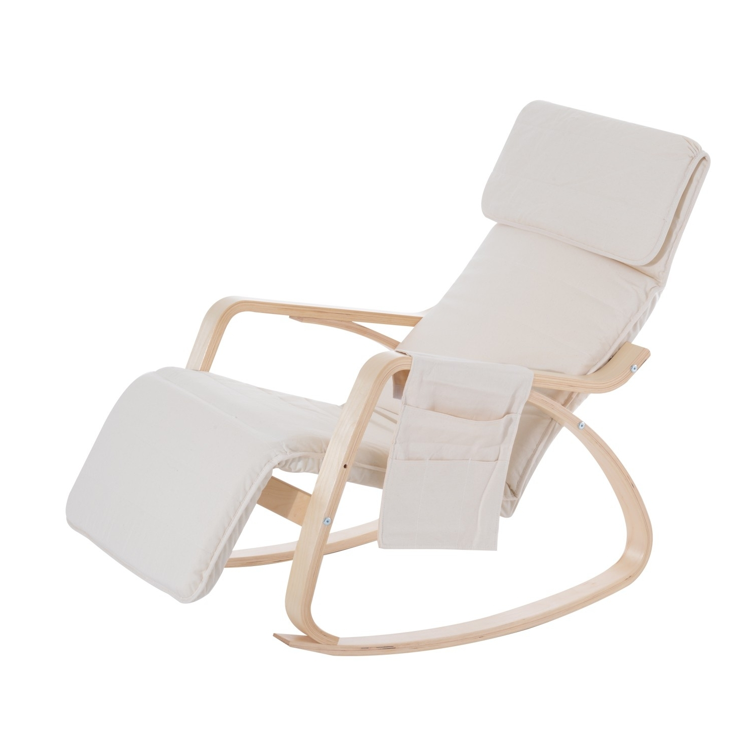 Most Popular Rocking Chairs With Footrest Inside Homcom Rocking Chair W/adjustable Footrest & Side Pocket Beige (View 6 of 15)