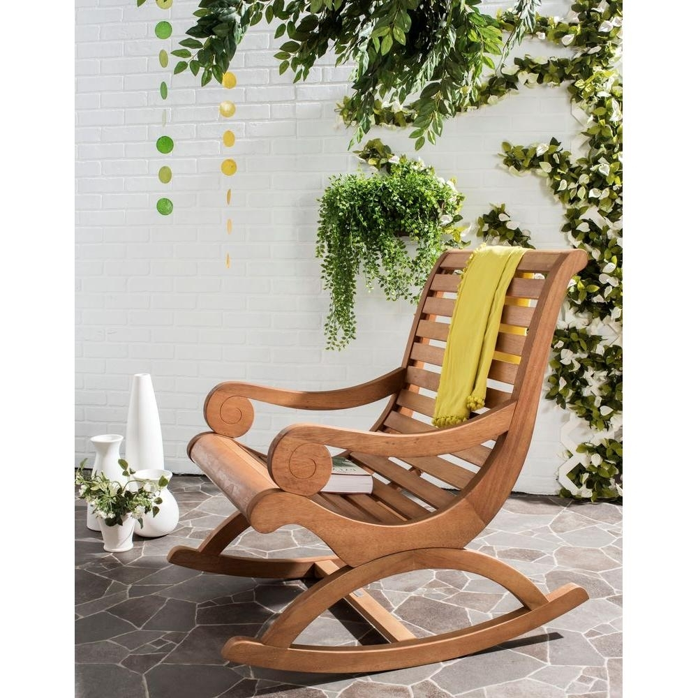 Most Popular Safavieh Sonora Teak Brown Outdoor Patio Rocking Chair Pat7016B Pertaining To Brown Wicker Patio Rocking Chairs (View 6 of 15)