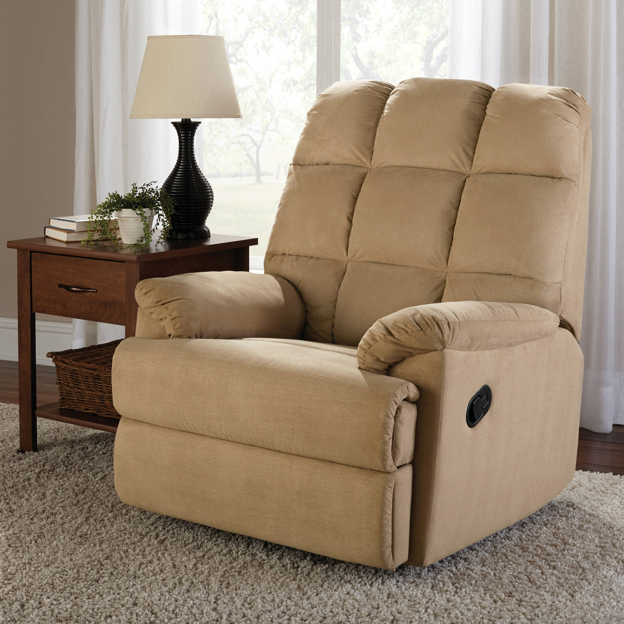 Most Popular Walmart Rocking Chairs Within Mainstays Microsuede Rocker Recliner – Walmart (View 8 of 15)