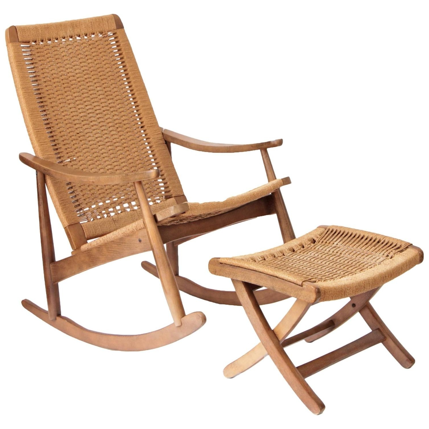Most Popular Woven Rope Mid Century Modern Rocking Chair And Ottoman At 1Stdibs Pertaining To Wicker Rocking Chairs And Ottoman (View 7 of 15)