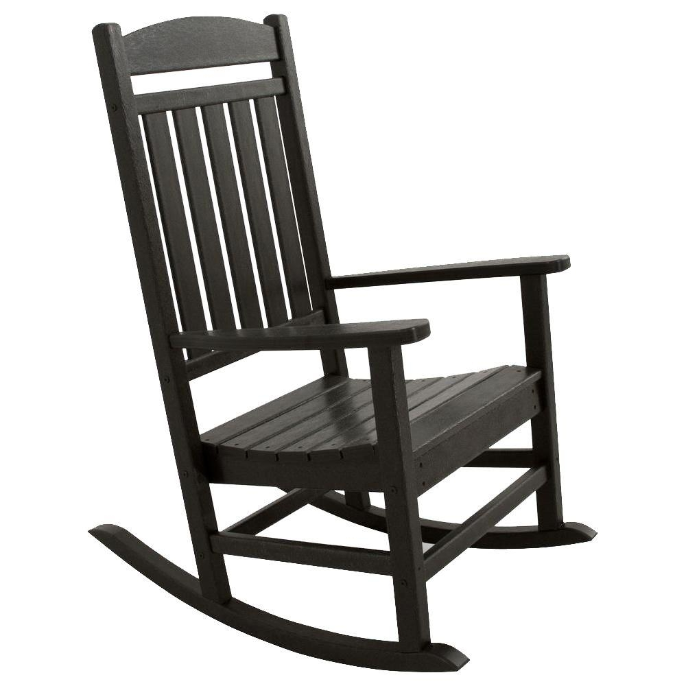 Most Recent Ivy Terrace Classics Black Patio Rocker Ivr100bl – The Home Depot Intended For Black Rocking Chairs (View 8 of 15)