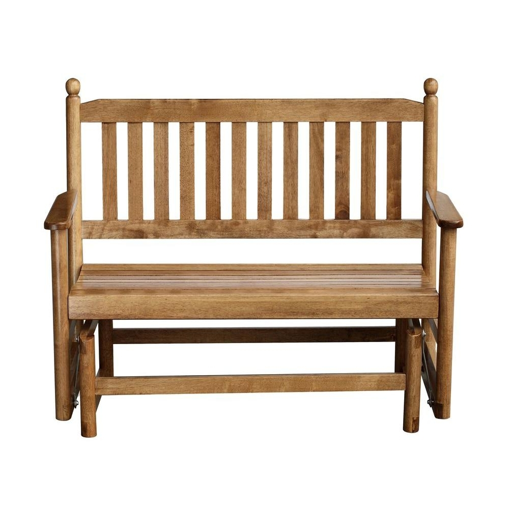 Most Recently Released 2 Person Maple Wood Outdoor Patio Glider 204gsm Rta – The Home Depot Regarding Patio Rocking Chairs And Gliders (View 11 of 15)