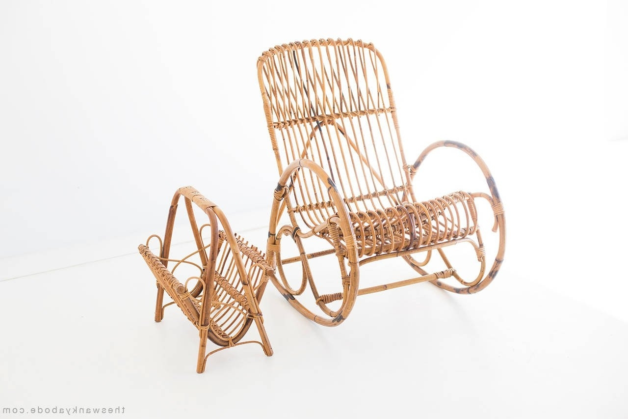 Most Recently Released Franco Albini Style Wicker Rocking Chair And Magazine Rack For Sale Regarding Wicker Rocking Chair With Magazine Holder (View 7 of 15)