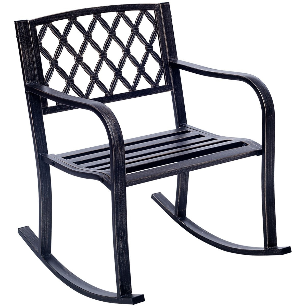 Most Recently Released Patio Metal Rocking Chairs With Giantex Patio Metal Rocking Chair Porch Seat Deck Outdoor Backyard (View 9 of 15)
