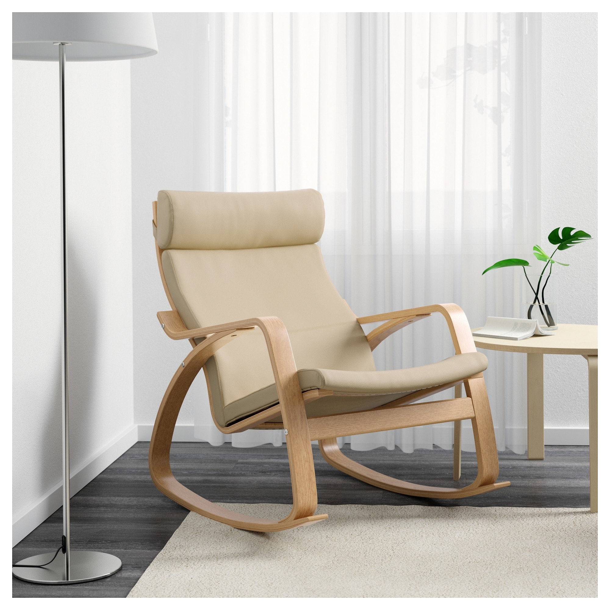 Most Recently Released Poäng Rocking Chair Oak Veneer/glose Eggshell – Ikea For High Back Rocking Chairs (View 12 of 15)