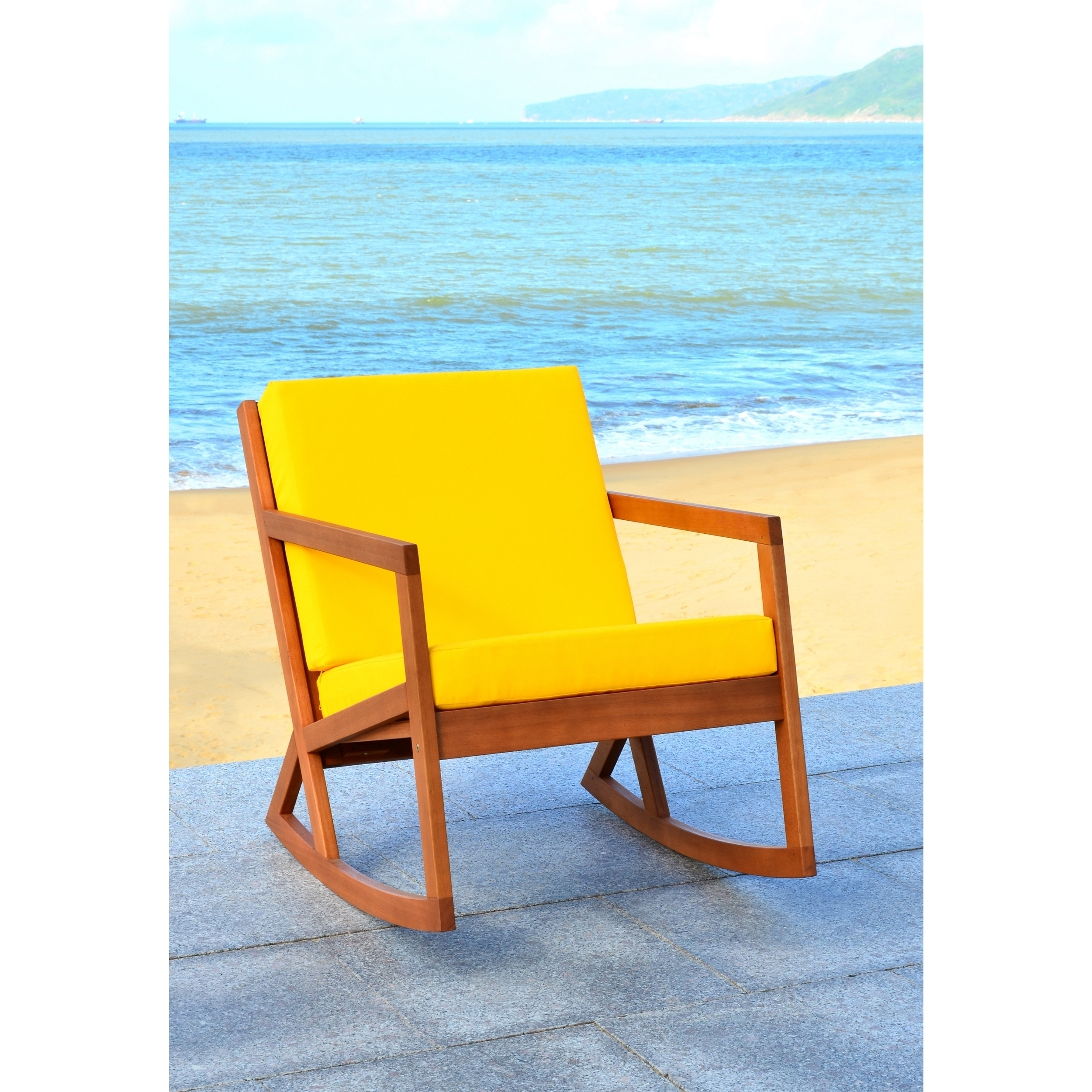 Most Recently Released Shop Safavieh Outdoor Living Vernon Brown/ Yellow Rocking Chair Pertaining To Yellow Outdoor Rocking Chairs (View 8 of 15)