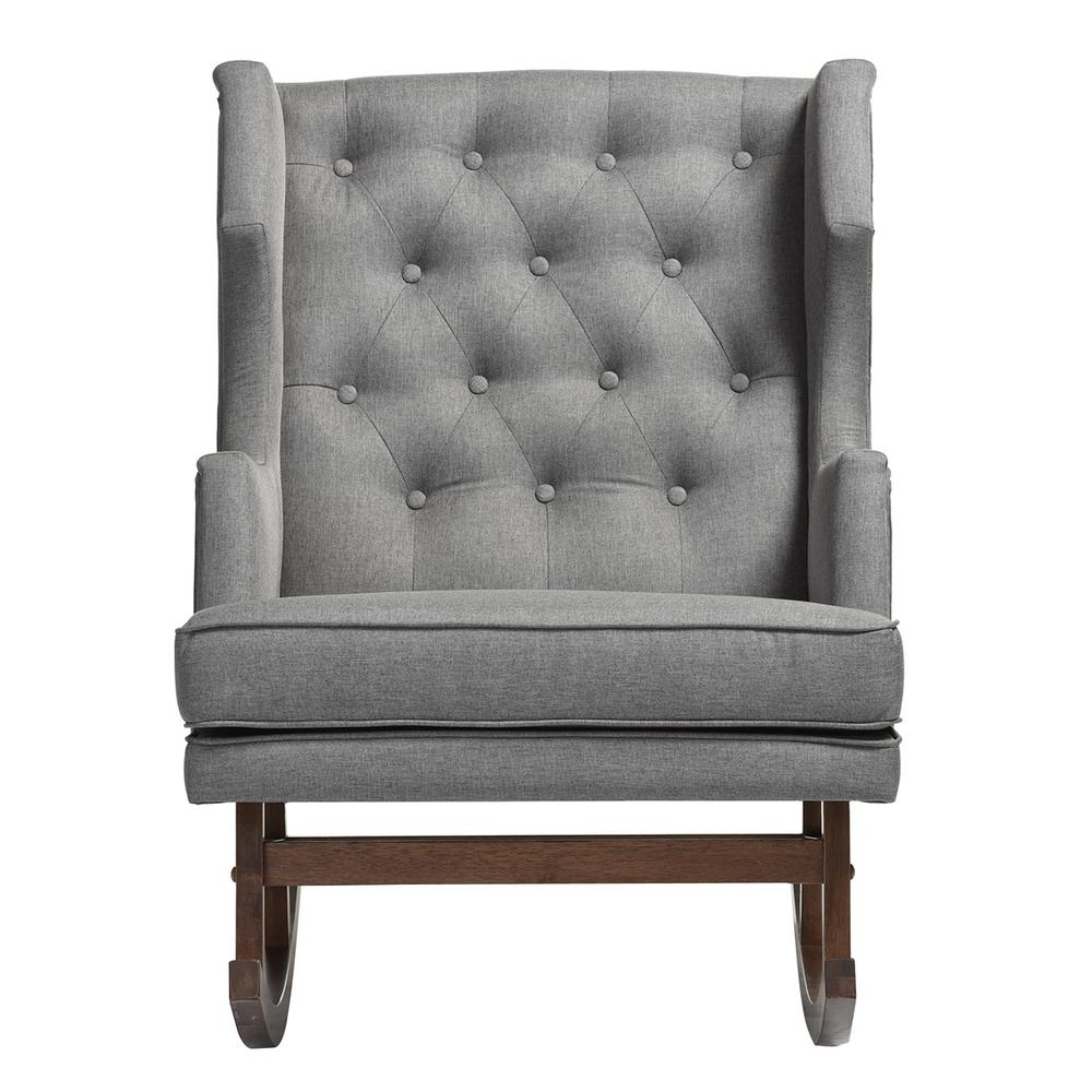 Most Recently Released Upholstered Rocking Chairs With Baxton Studio Iona Mid Century Gray Fabric Upholstered Rocking Chair (View 11 of 15)