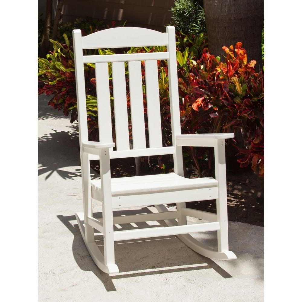 Most Up To Date Rocking Chairs At Home Depot With Polywood Presidential White Patio Rocker R100Wh – The Home Depot (View 5 of 15)