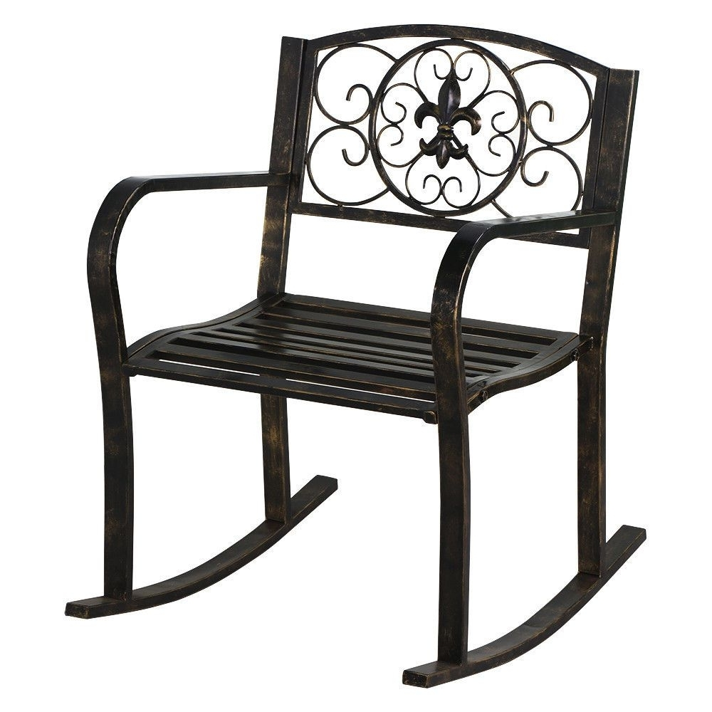 New Patio Metal Rocking Chair Porch Seat Deck Outdoor Backyard With Regard To Favorite Outdoor Patio Metal Rocking Chairs (View 8 of 15)