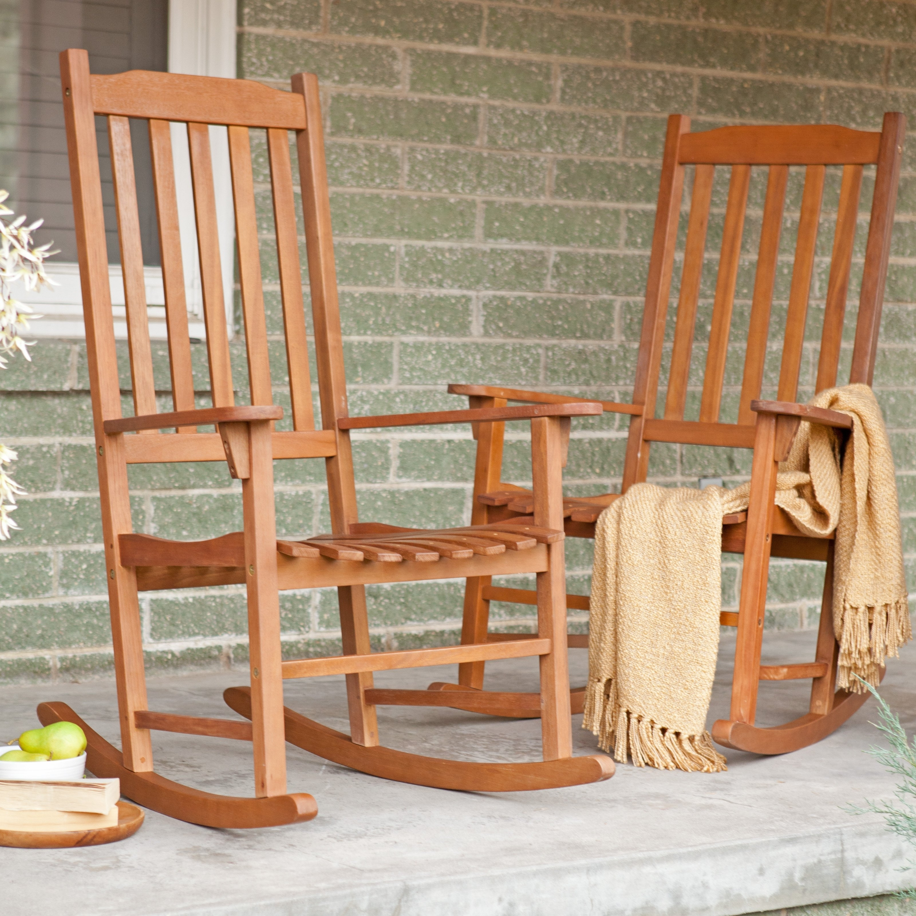 Newest Coral Coast Indoor/outdoor Mission Slat Rocking Chairs – Natural For Outside Rocking Chair Sets (View 8 of 15)