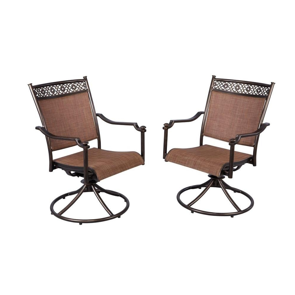 Newest Hampton Bay Niles Park Sling Patio Swivel Rockers (2 Pack) S2 Pertaining To Patio Sling Rocking Chairs (View 3 of 15)