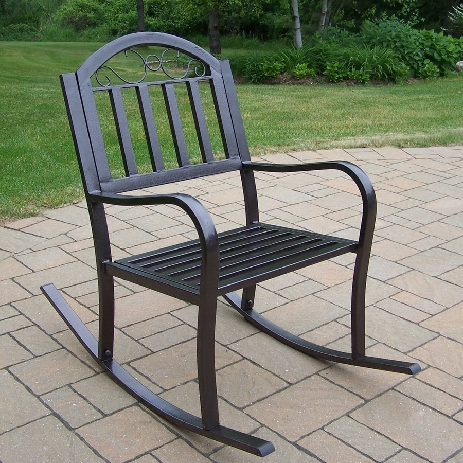 Newest Iron Rocking Patio Chairs In Shop Oakland Living Rochester Iron Rocking Chair With Slat Seat At (View 11 of 15)