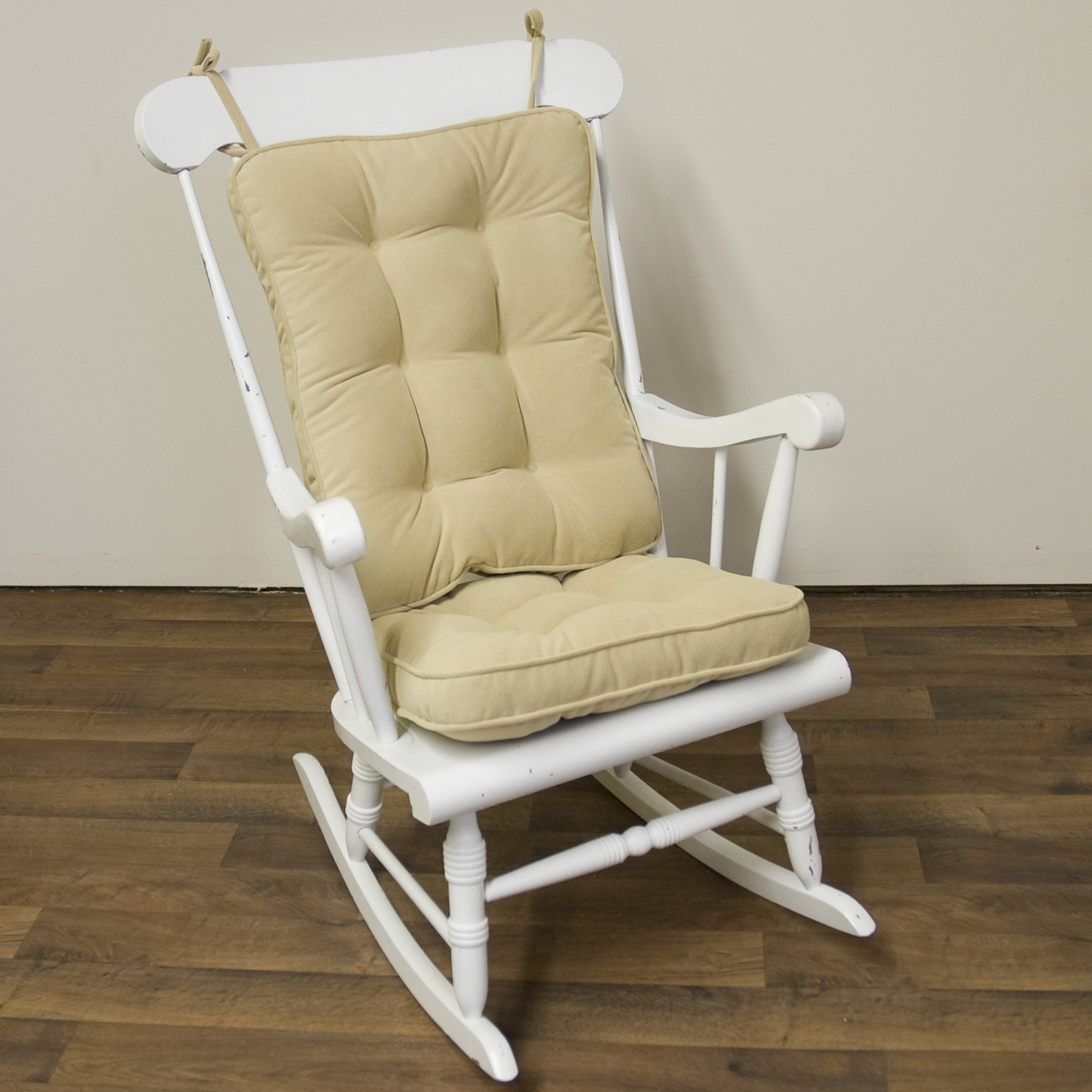 Newest Piece Rocking Chair Cushion Set Cream Color Seat Back Nylon In Rocking Chairs With Lumbar Support (View 6 of 15)