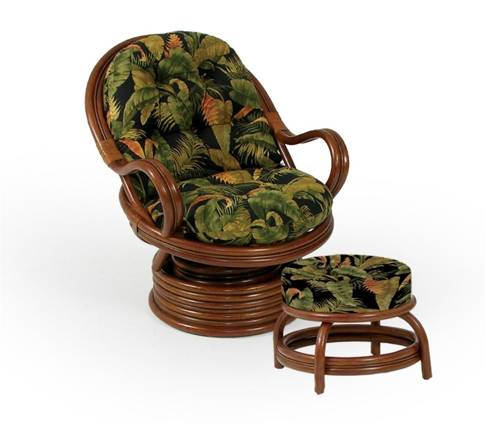 Newest Swivel Rocker Chair And Round Ottomanpalm Springs Rattan (View 11 of 15)