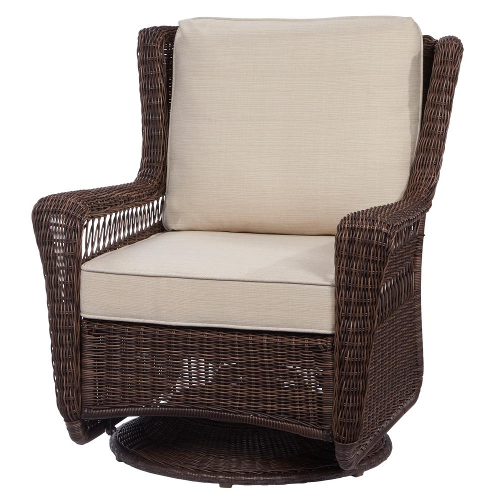 Newest Wicker Rocking Chairs And Ottoman Regarding Hampton Bay Park Meadows Brown Swivel Rocking Wicker Outdoor Lounge (View 9 of 15)