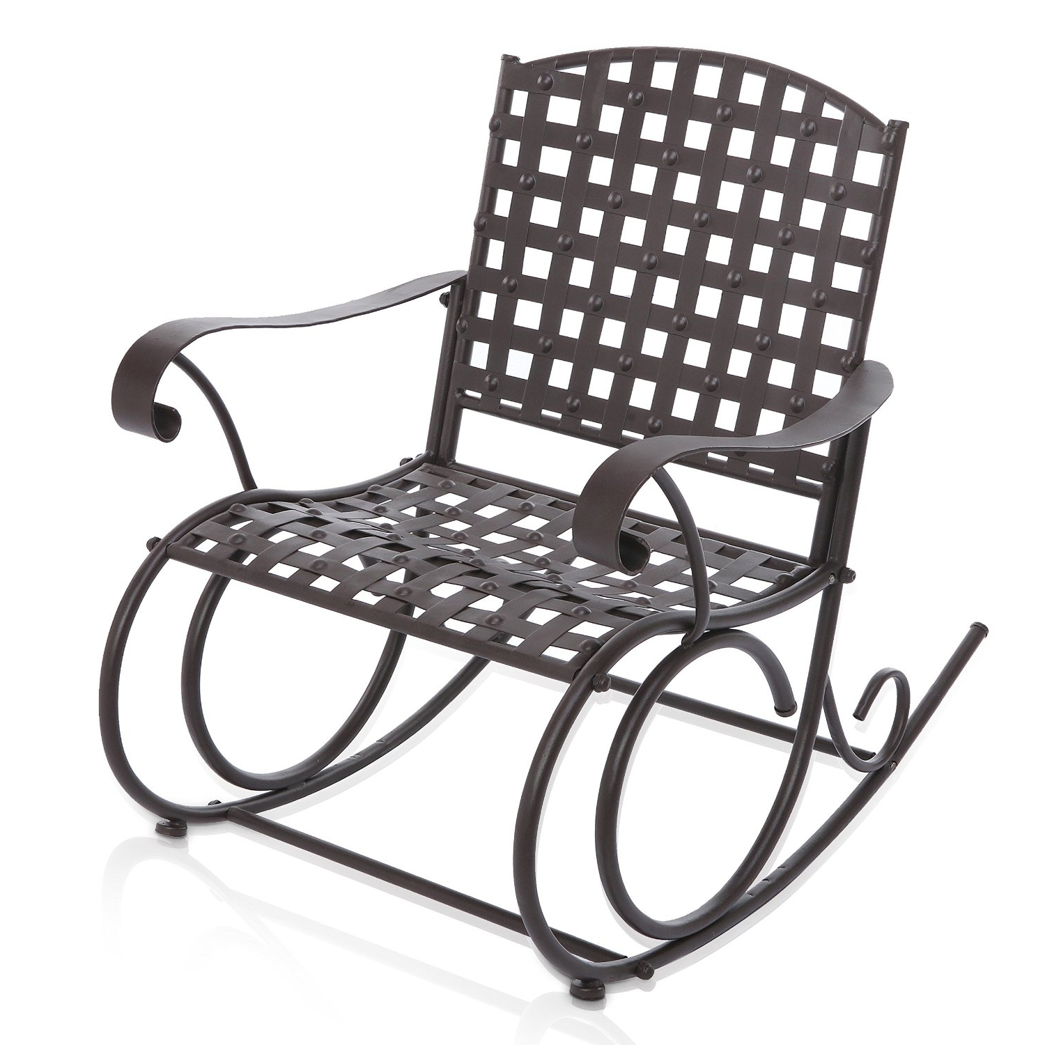 Outdoor Patio Metal Rocking Chairs Throughout Famous Buy Decorative Dark Brown Woven Metal Rocking Chair / Outdoor Patio (View 13 of 15)