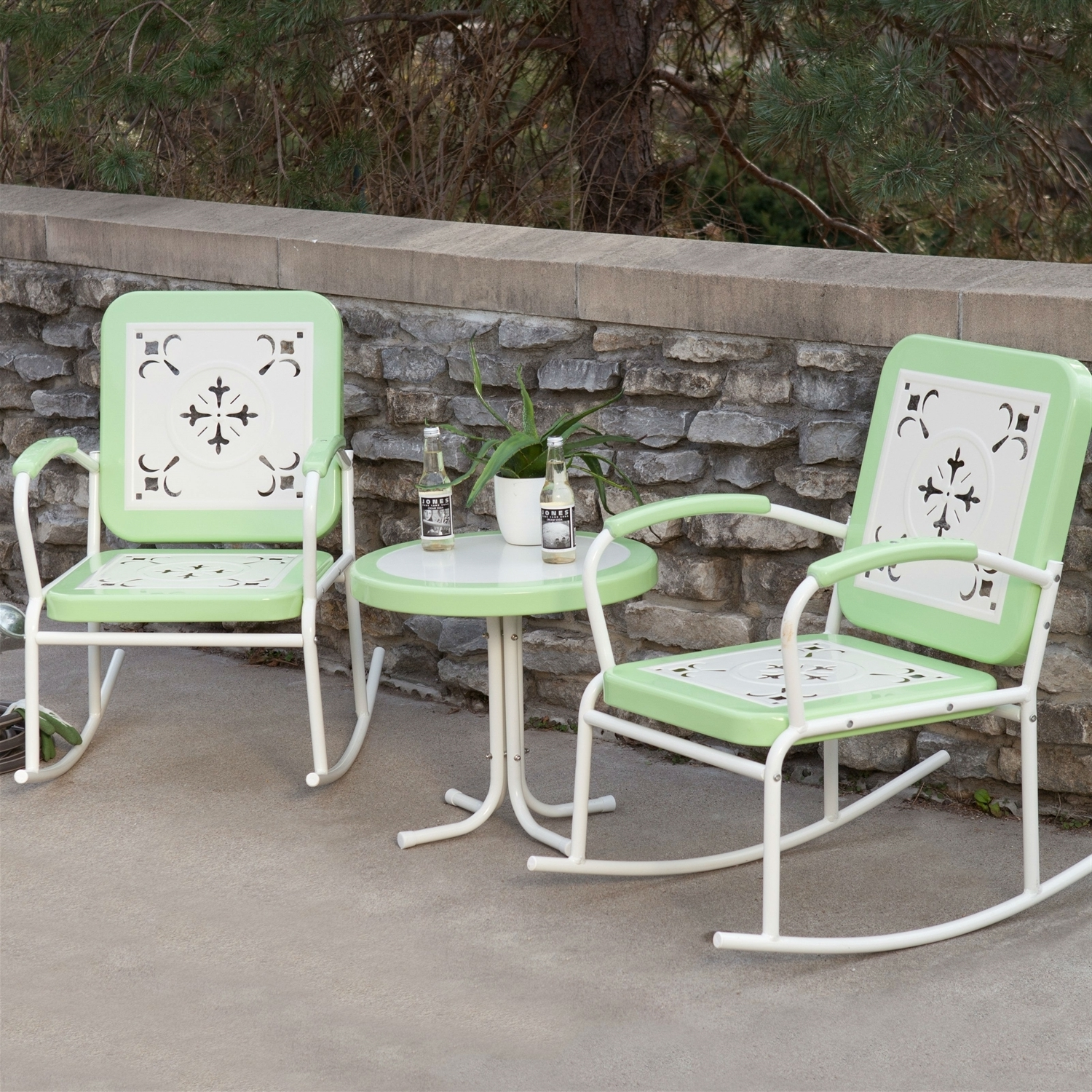 Outdoor Patio Metal Rocking Chairs With Regard To Recent Mint Green Retro Patio 3 Pc (View 14 of 15)