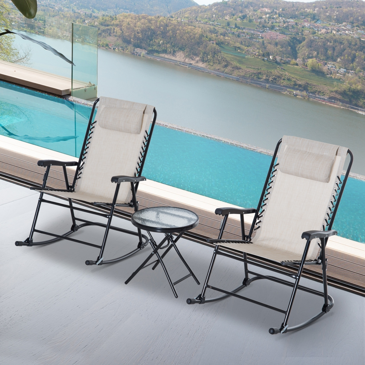 Outsunny 3 Piece Outdoor Rocking Chair Patio Table Seating Set Regarding Preferred Outdoor Rocking Chairs With Table (View 14 of 15)