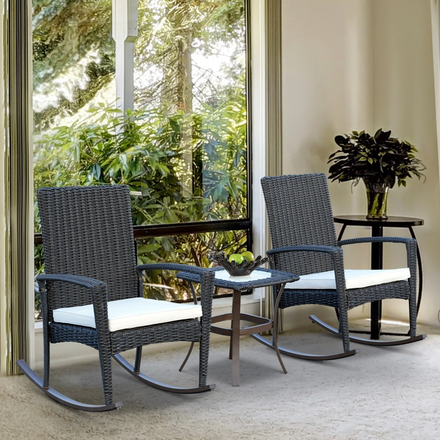 Outsunny 3pcs Rocking Chair Table Set Outdoor Wicker Furniture 2 With Most Recently Released Outdoor Rocking Chairs With Table (View 12 of 15)