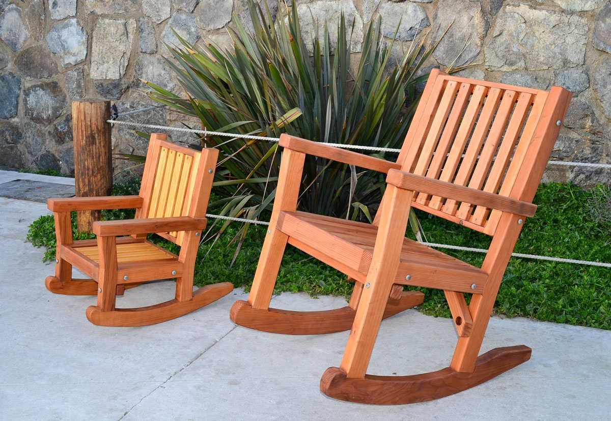 Oversized Patio Rocking Chairs Pertaining To Well Liked Terrific Massive Wood Rocking Chair Custom Redwood Rockers Oversized (View 9 of 15)