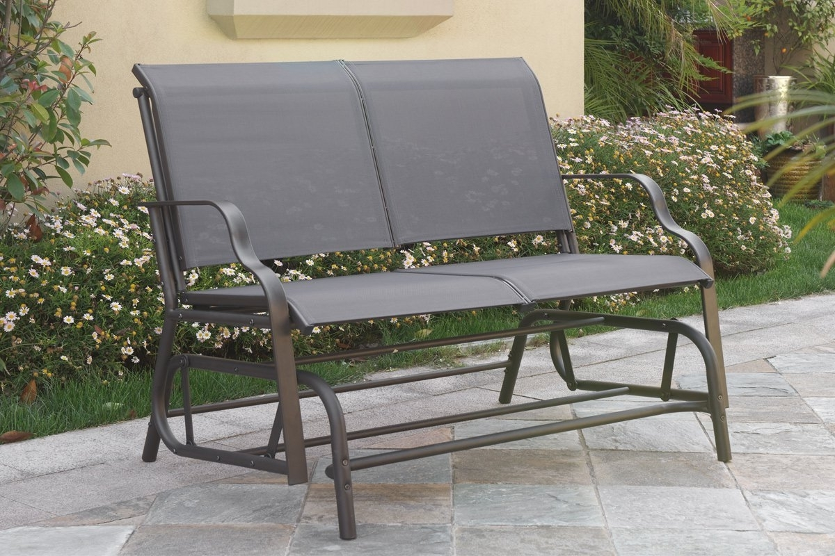Patio Furniture Rocking Benches With Newest Easily Glider Outdoor Patio Furniture Swing Loveseat Bench Chair (View 3 of 15)