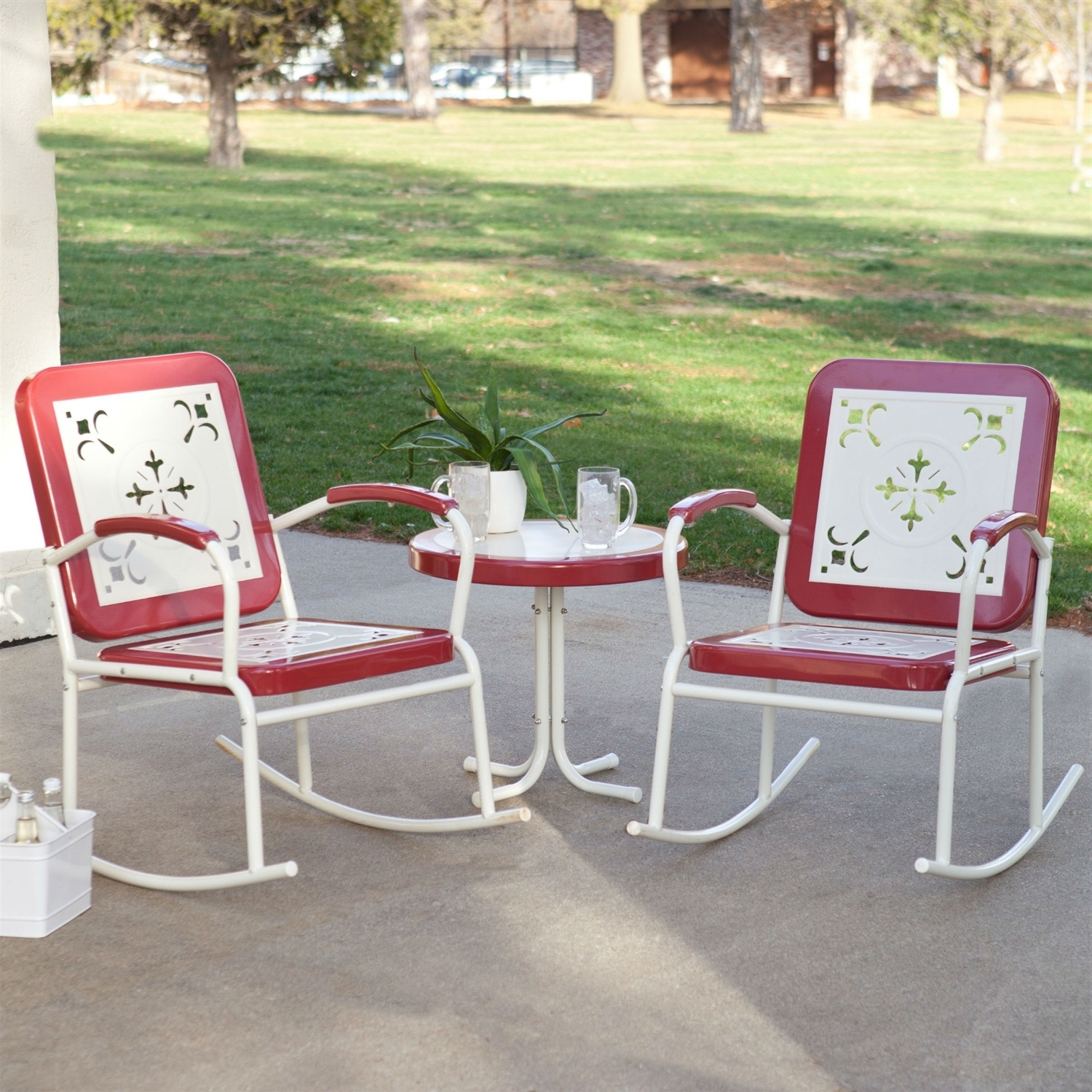 Patio Metal Rocking Chairs Throughout Best And Newest Cherry Red Retro Patio 3 Pc (View 6 of 15)