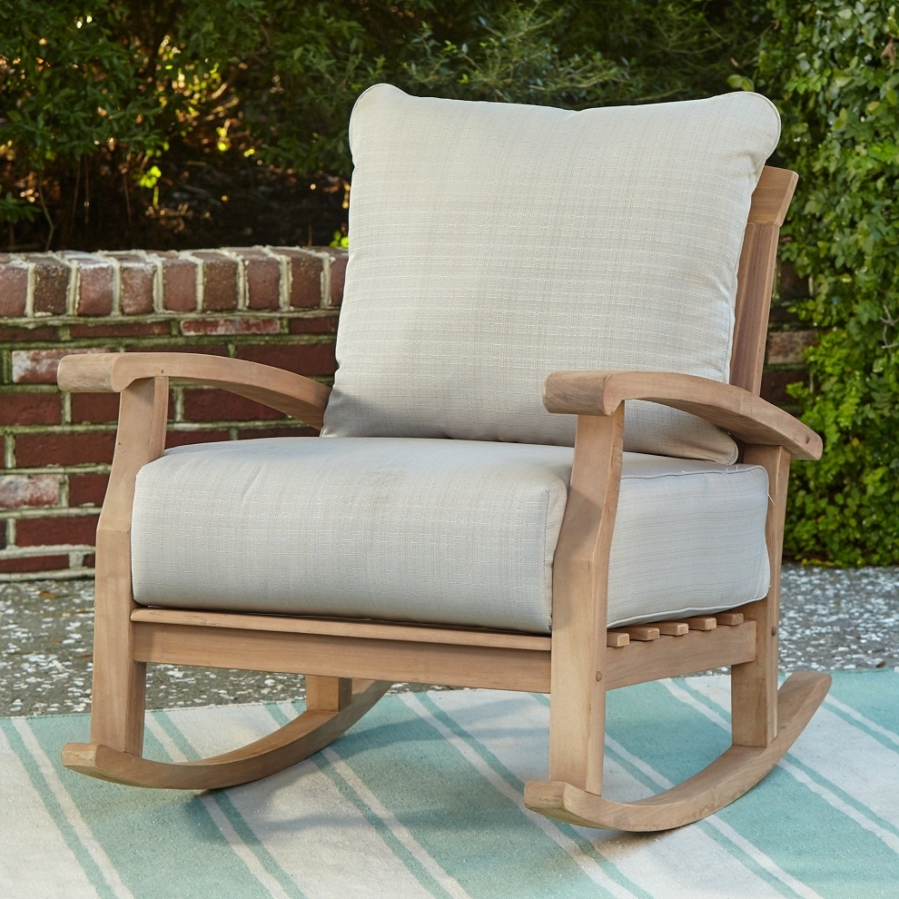 Patio Rocking Chairs Regarding 2017 Patio Rocking Chair Teak Wood — Wilson Home Ideas : Relaxing Patio (View 10 of 15)