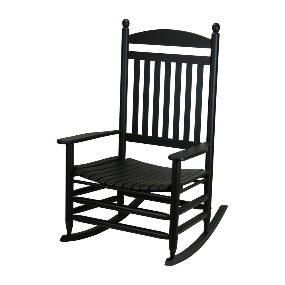 Patio Rocking Chairs With Covers In Widely Used Bradley Black Jumbo Slat Wood Outdoor Patio Rocking Chair 1200sbf (View 4 of 15)