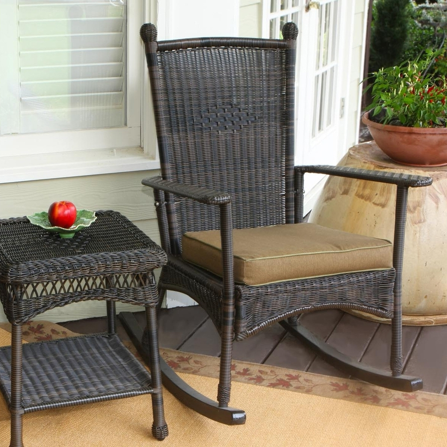 Patio Rocking Chairs With Cushions In Well Known Shop Tortuga Outdoor Portside Wicker Rocking Chair With Khaki (View 11 of 15)