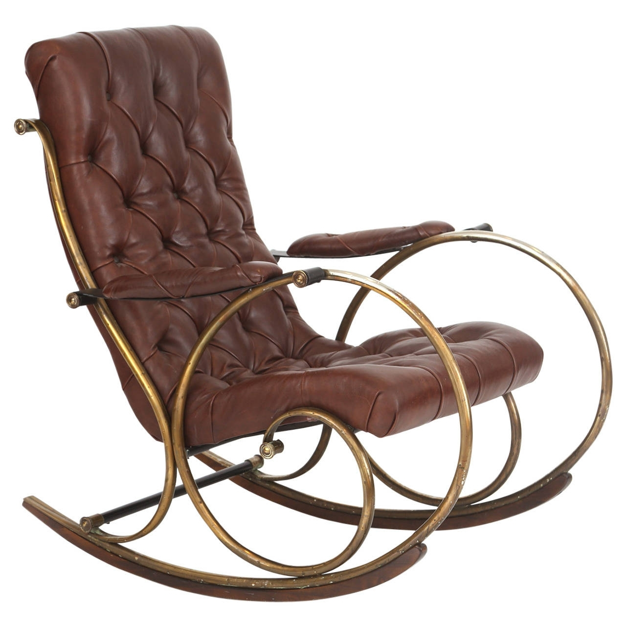 Patio Wooden Rocking Chairs With Preferred Leather Brass And Wood Rocking Chairwoodard For Sale At 1stdibs (View 9 of 15)