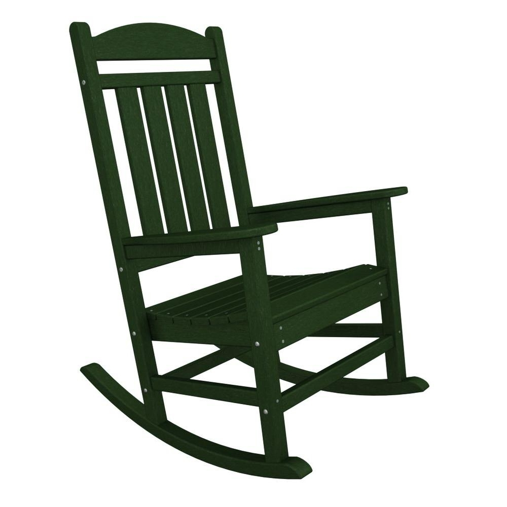 Plastic Patio Rocking Chairs Intended For Recent Polywood Presidential Green Plastic Patio Rocker R100Gr – The Home Depot (View 7 of 15)