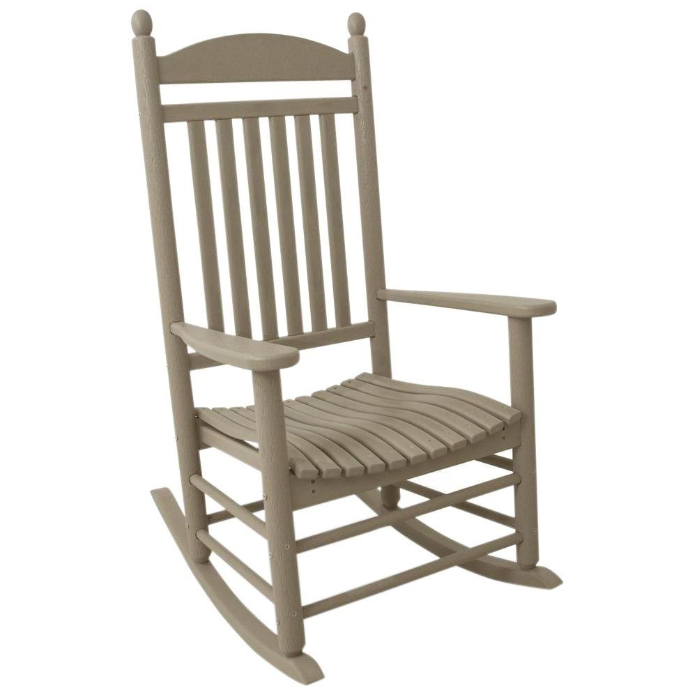 Polywood Jefferson Sand Patio Rocker J147sa – The Home Depot With 2017 Outdoor Rocking Chairs (View 3 of 15)