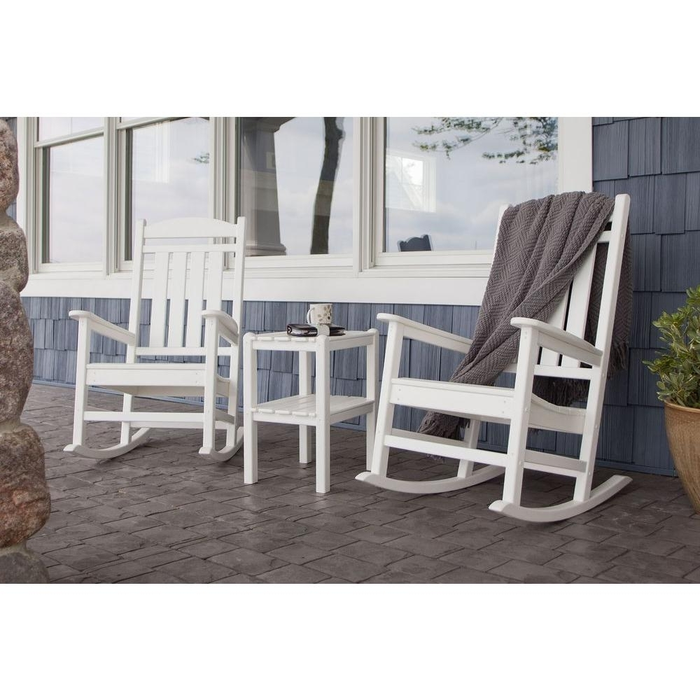Polywood Presidential White 3 Piece Patio Rocker Set Pws138 1 Wh For Most Recently Released Outside Rocking Chair Sets (View 10 of 15)