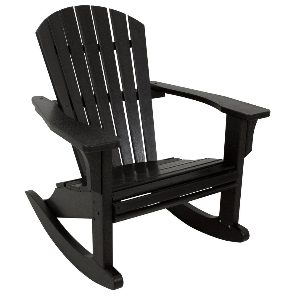 Polywood Seashell Black Patio Rocker Shr22Bl – The Home Depot For Widely Used Black Patio Rocking Chairs (View 15 of 15)