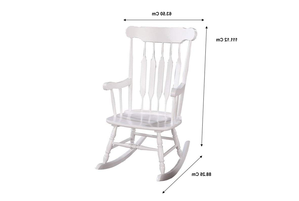 Popular Amazon: Coaster Traditional White Wood Rocking Chair With Regarding Manhattan Patio Grey Rocking Chairs (View 12 of 15)