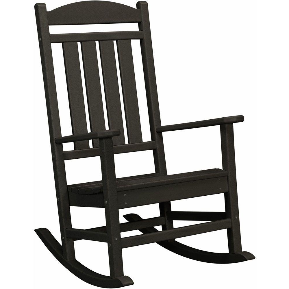 Popular Black Rocking Chairs Pertaining To Hanover Black All Weather Pineapple Cay Patio Porch Rocker Hvr100bl (View 2 of 15)