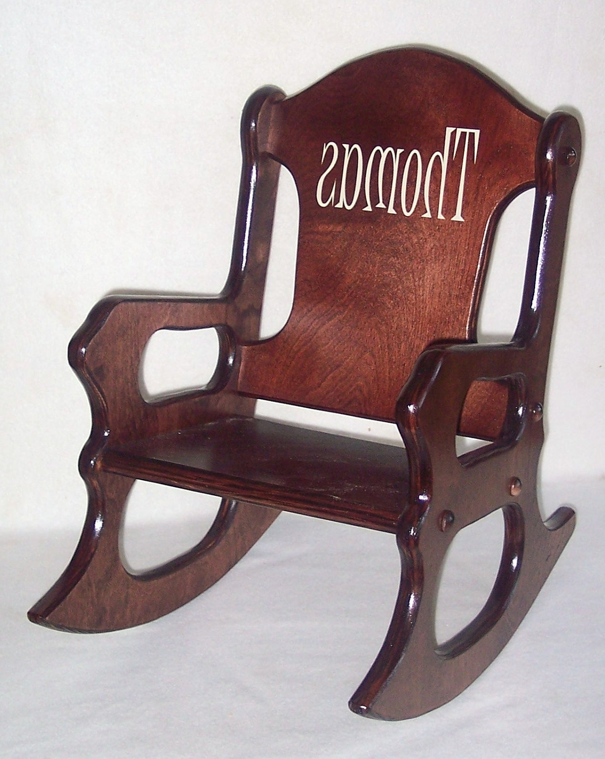 Popular Rocking Chairs For Toddlers With Wooden Kids Rocking Chair Personalized Cherry Finish, Kid Wood Chair (View 7 of 15)
