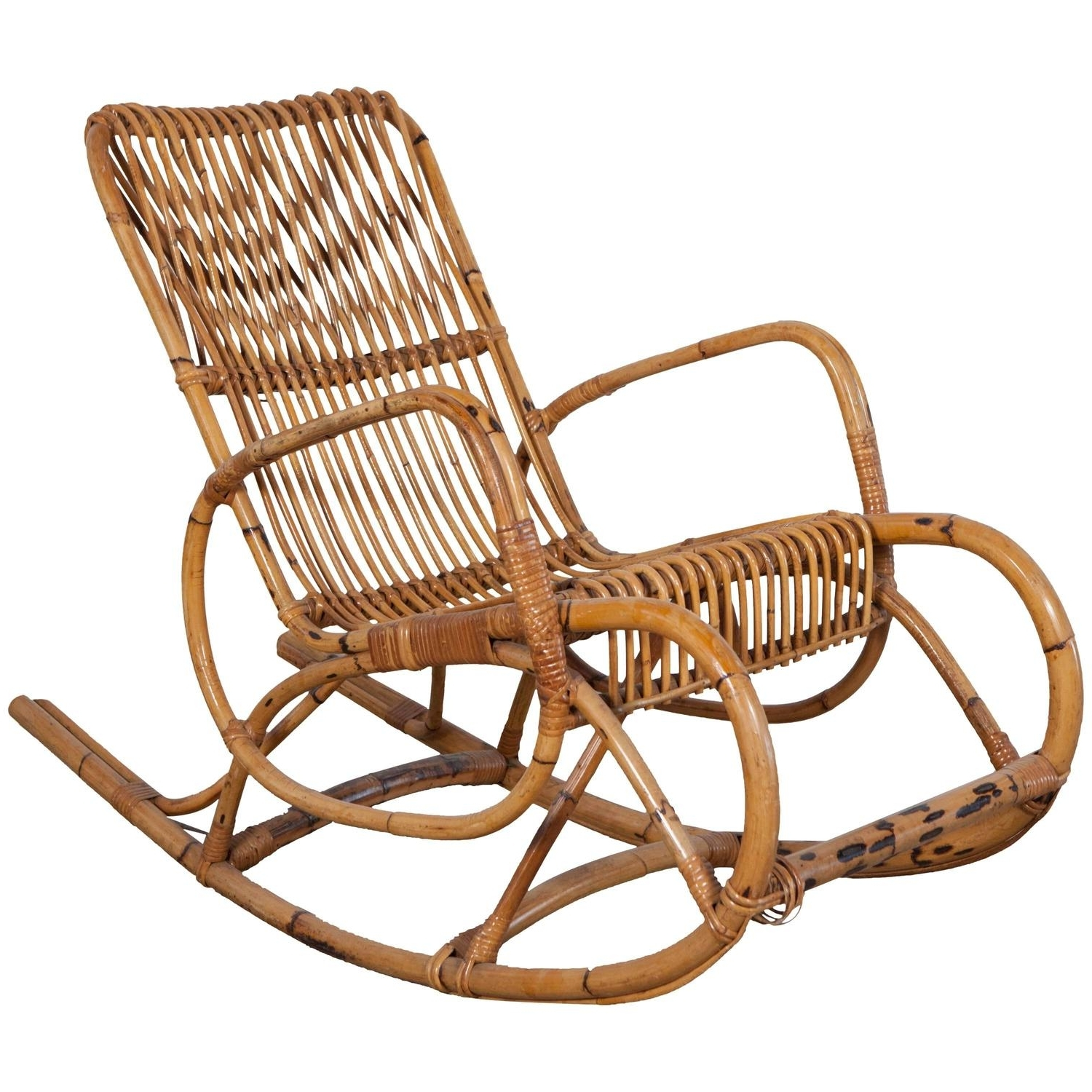 Preferred Antique Rocking Chairs With Regard To Vintage Italian Bamboo Rocking Chair With Square Arms At 1stdibs (View 3 of 15)