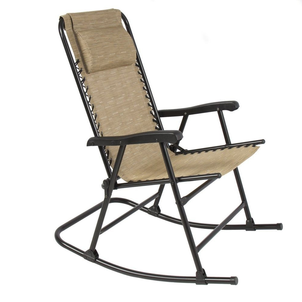 Preferred Folding Steel Rocking Chair Beige Foldable Rocker Outdoor Patio Pertaining To Folding Rocking Chairs (View 11 of 15)