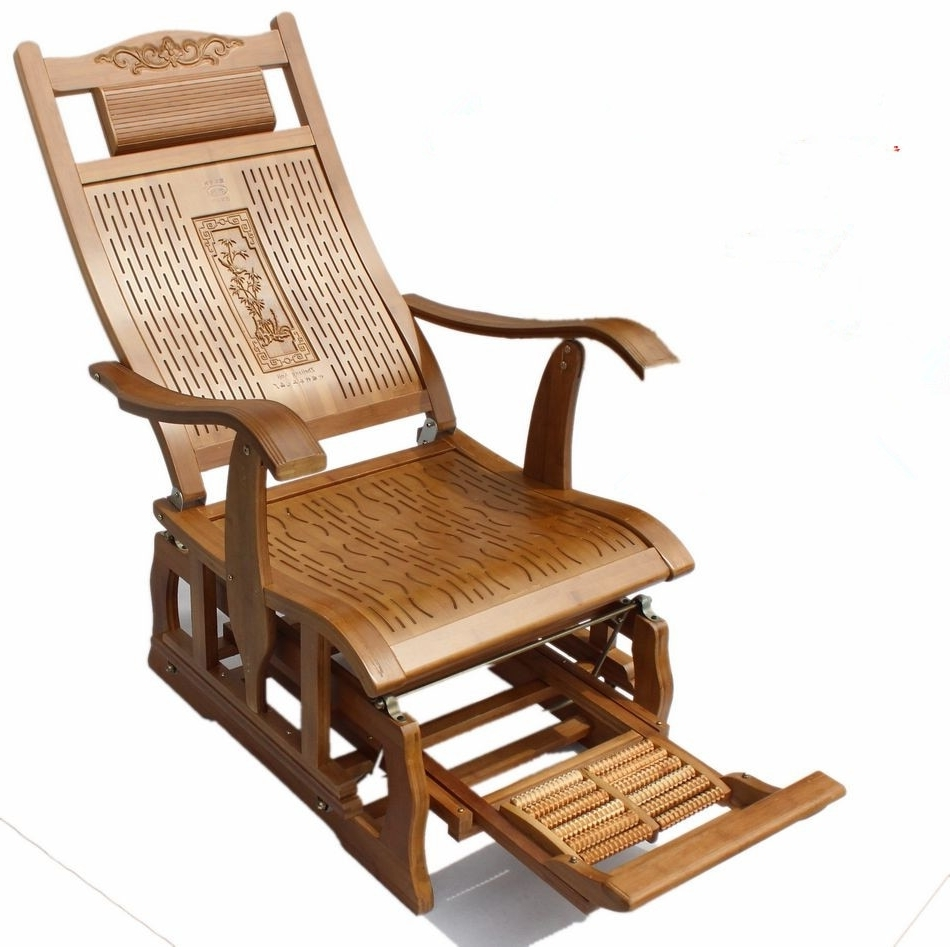 Preferred Modern Bamboo Rocking Chair Adult Glider Rocker Natural Bamboo Regarding Rocking Chairs For Adults (View 7 of 15)
