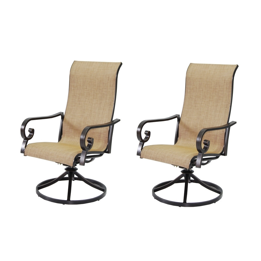 Preferred Shop Garden Treasures Rollinsford 2 Count Bronze Aluminum Swivel With Patio Sling Rocking Chairs (View 8 of 15)