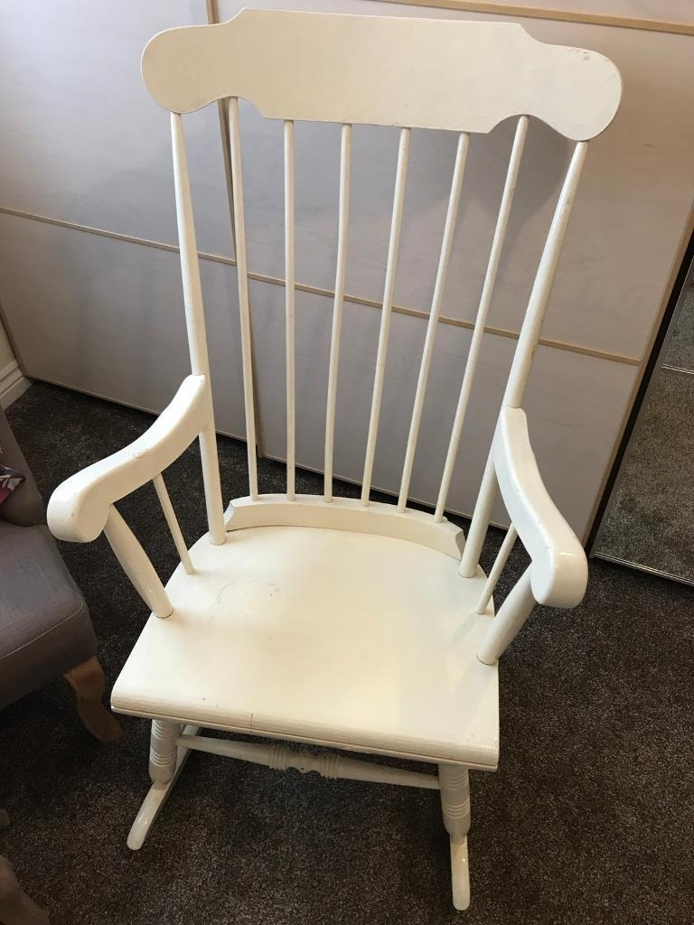 Preferred Upcycled Rocking Chairs Throughout Vintage Effect White Rocking Chair Nursery Upcycle (View 13 of 15)