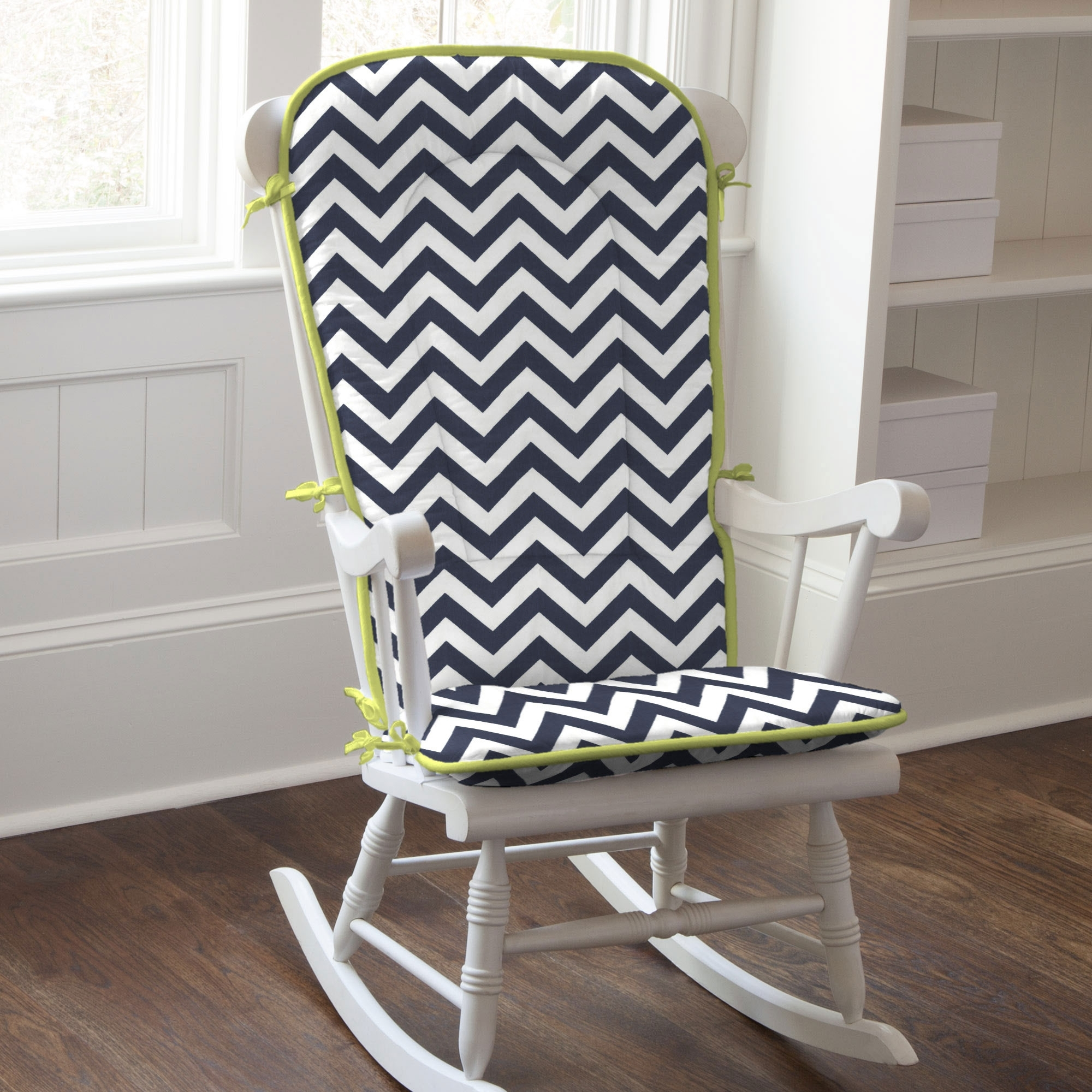 Preferred White Wooden Indoor Rocking Chairs With White Black Zigzag Striped Inside Rocking Chairs With Cushions (View 8 of 15)