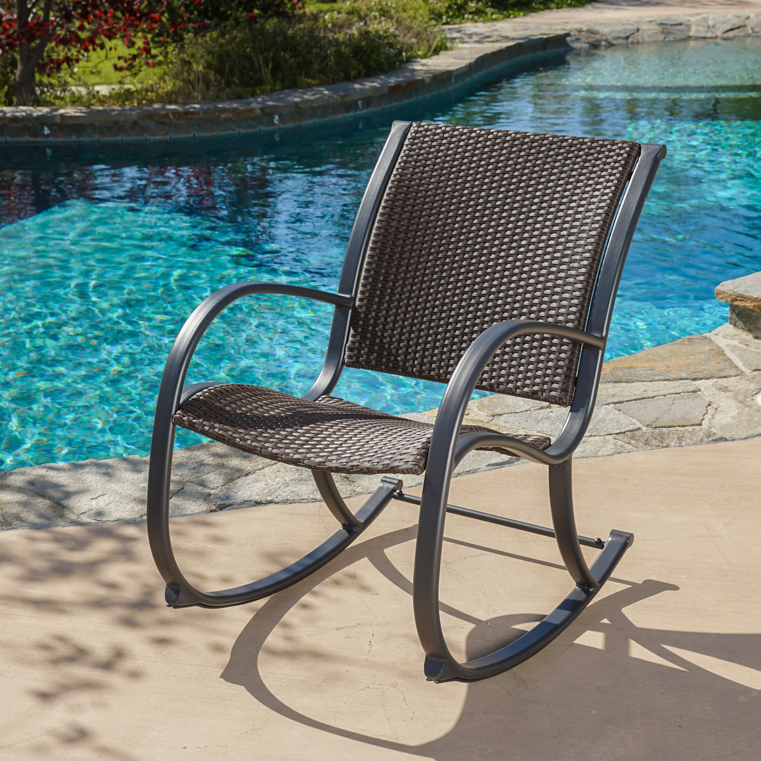 Rattan Outdoor Rocking Chairs Within Latest Shop Gracie's Outdoor Wicker Rocking Chairchristopher Knight (View 9 of 15)