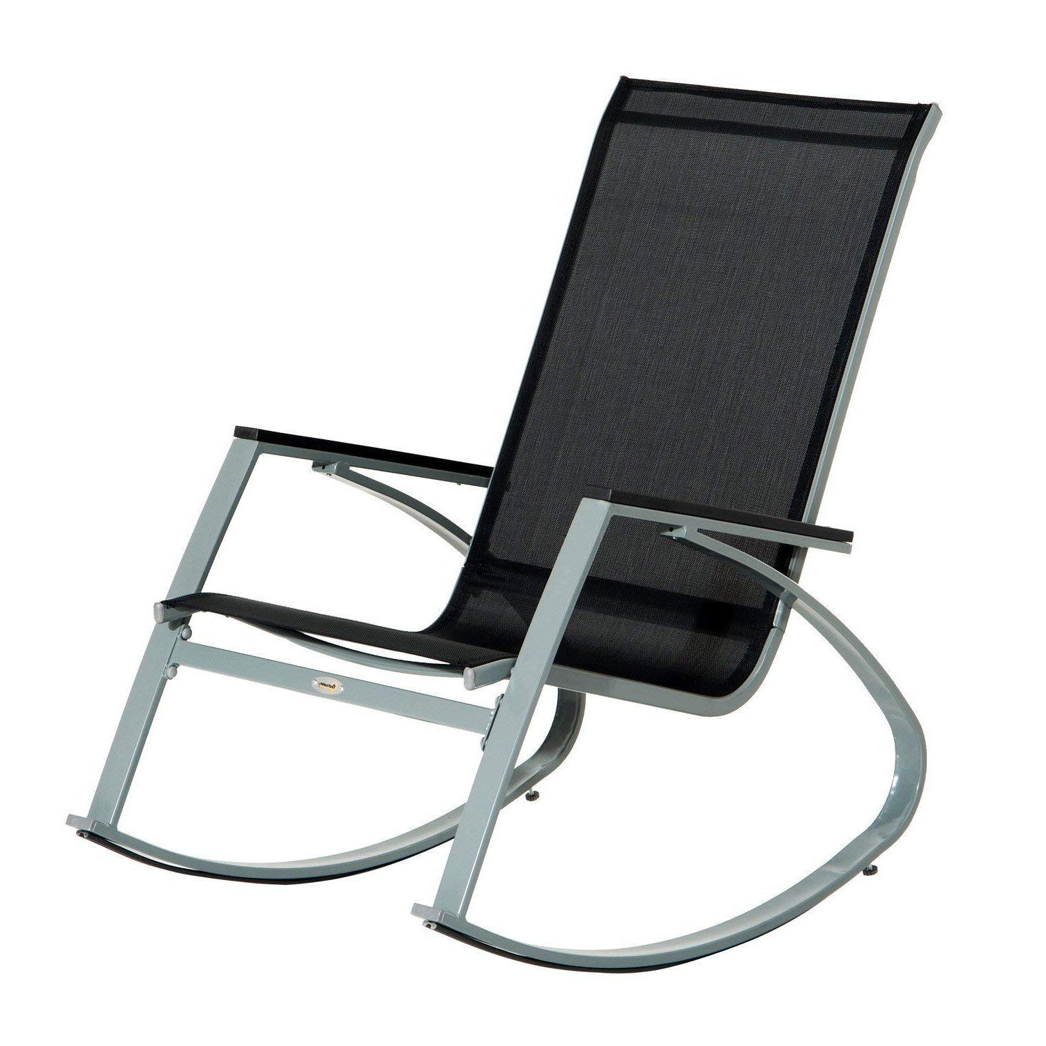 Recent Amazon : Outsunny Padded Steel Sling Porch Rocker Patio Chair Intended For Patio Sling Rocking Chairs (View 11 of 15)