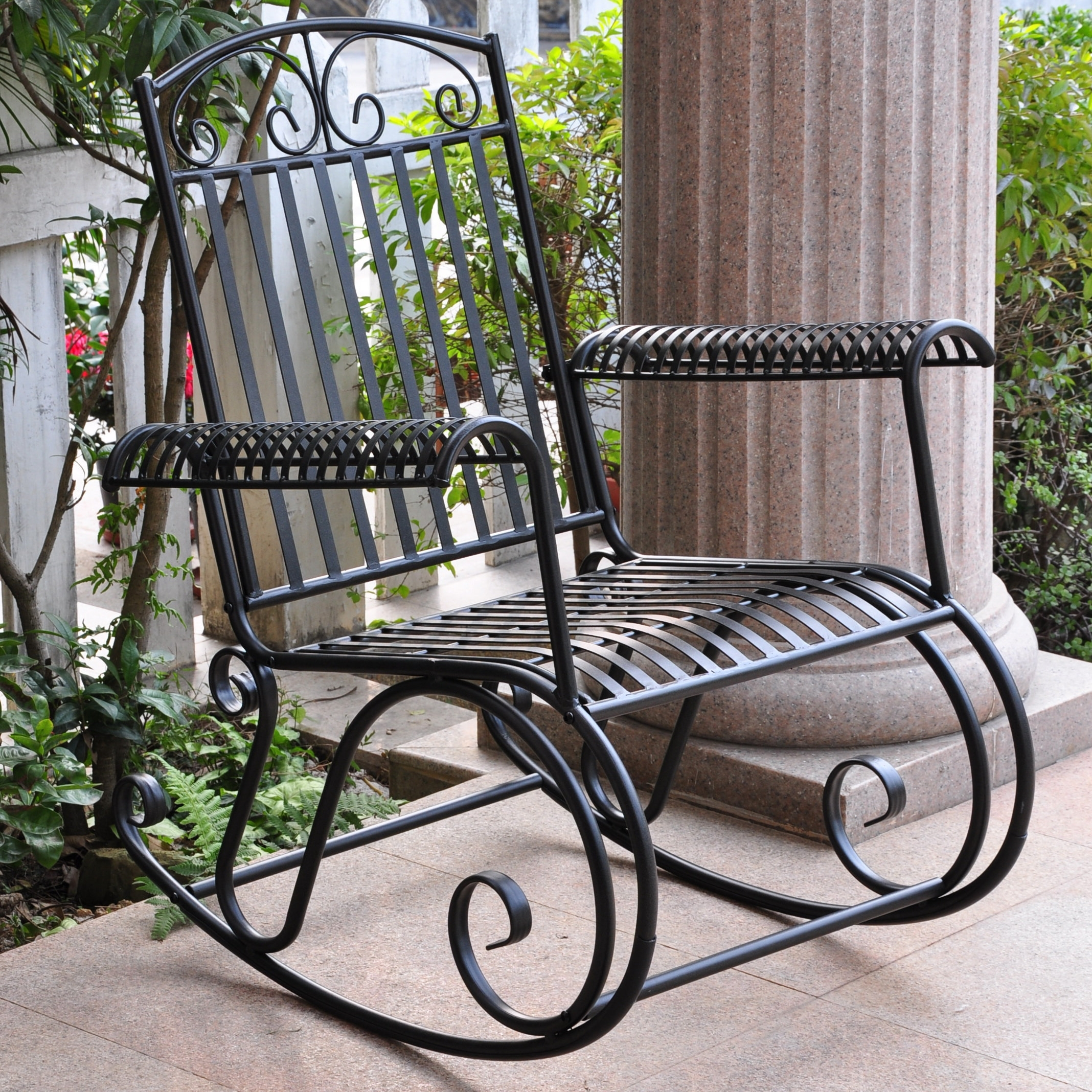 Recent Unique Outdoor Rocking Chairs Pertaining To Three Posts Snowberry Iron Outdoor Porch Rocking Chair & Reviews (View 15 of 15)